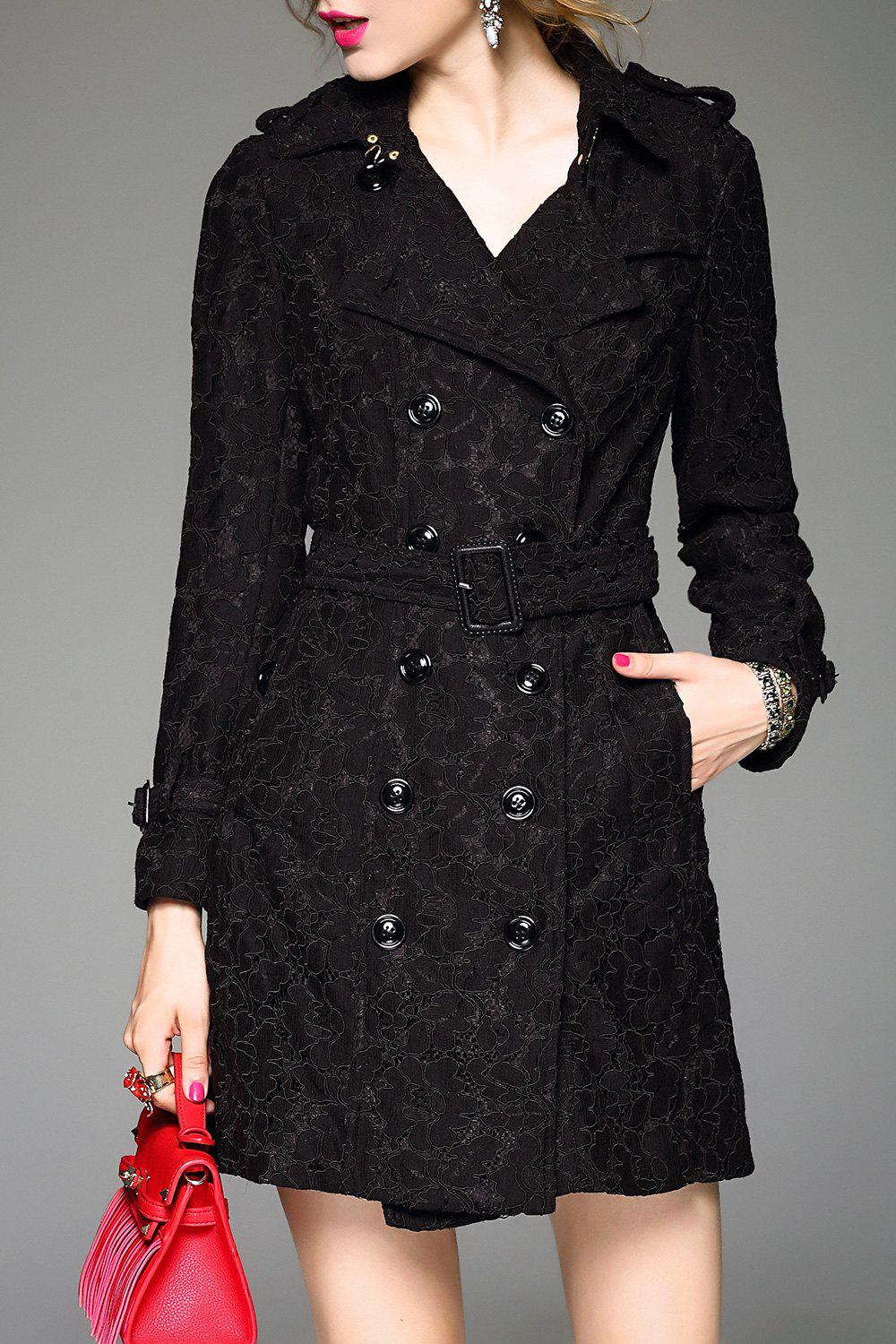 Lace Belted A Line Tench Coat, Black