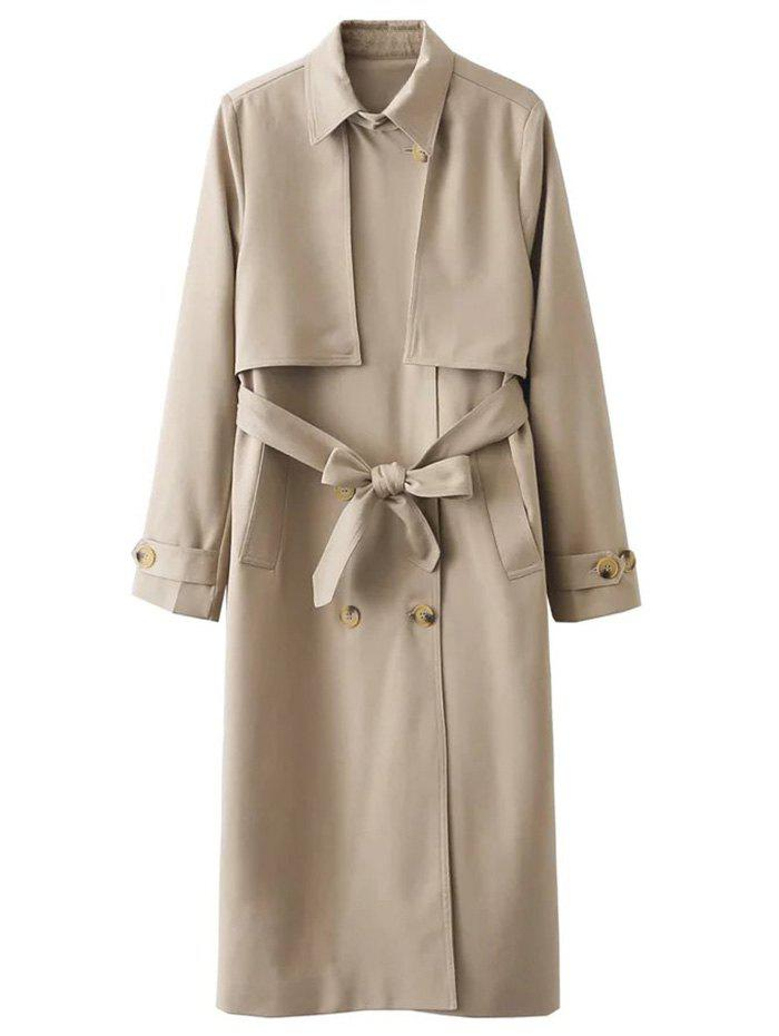 Overlayed Double Breasted Trench Coat - KHAKI M