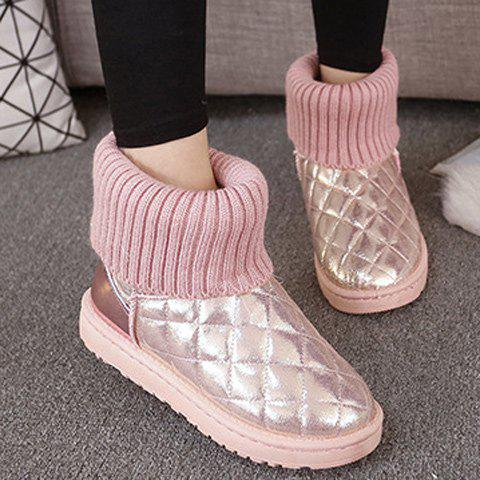 Argyle Pattern Splicing Knitting Snow Boots - PINK 37