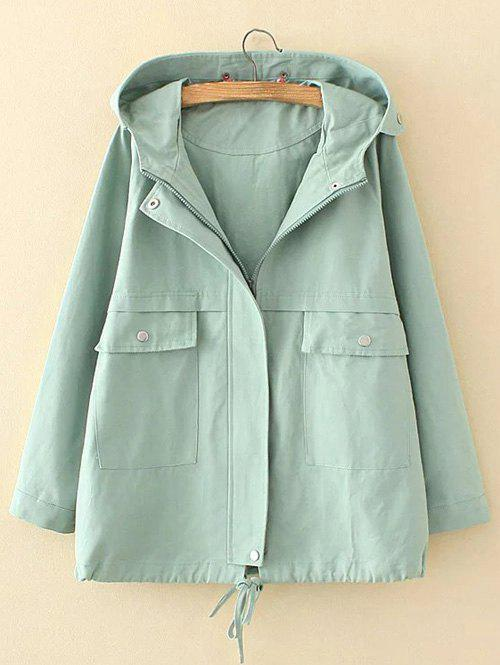 Plus Size Hooded Pocket Design Trench Coat - LIGHT GREEN XL