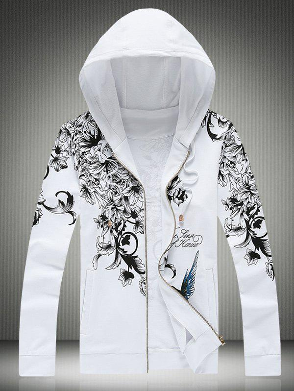 Bird and Floral Print Plus Size Hooded Zip-Up Hoodie - Blanc 4XL