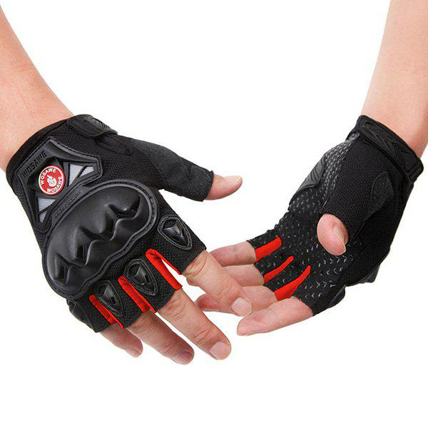 High Quality Outdoor Motorcycle Cross Country Half Gloves - RED M