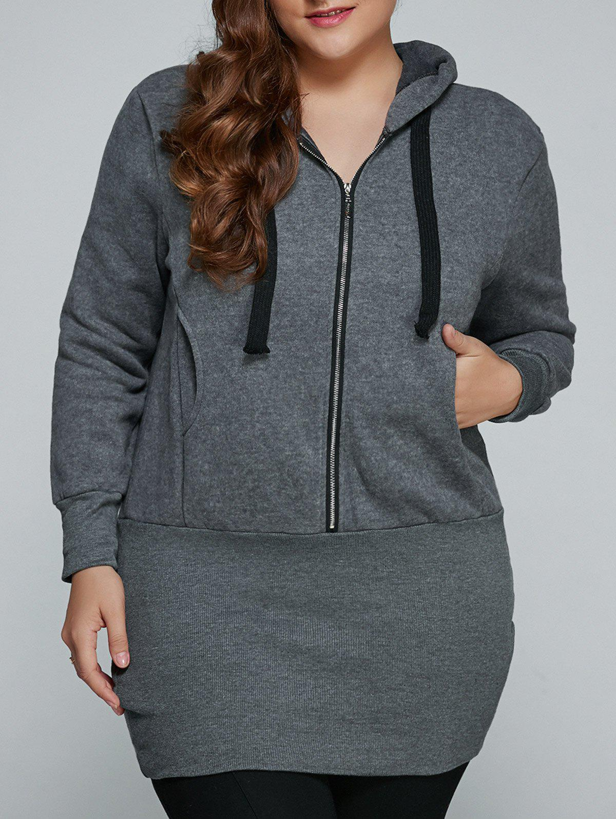 Plus Size Zip Up Dress Hooded - gris XL