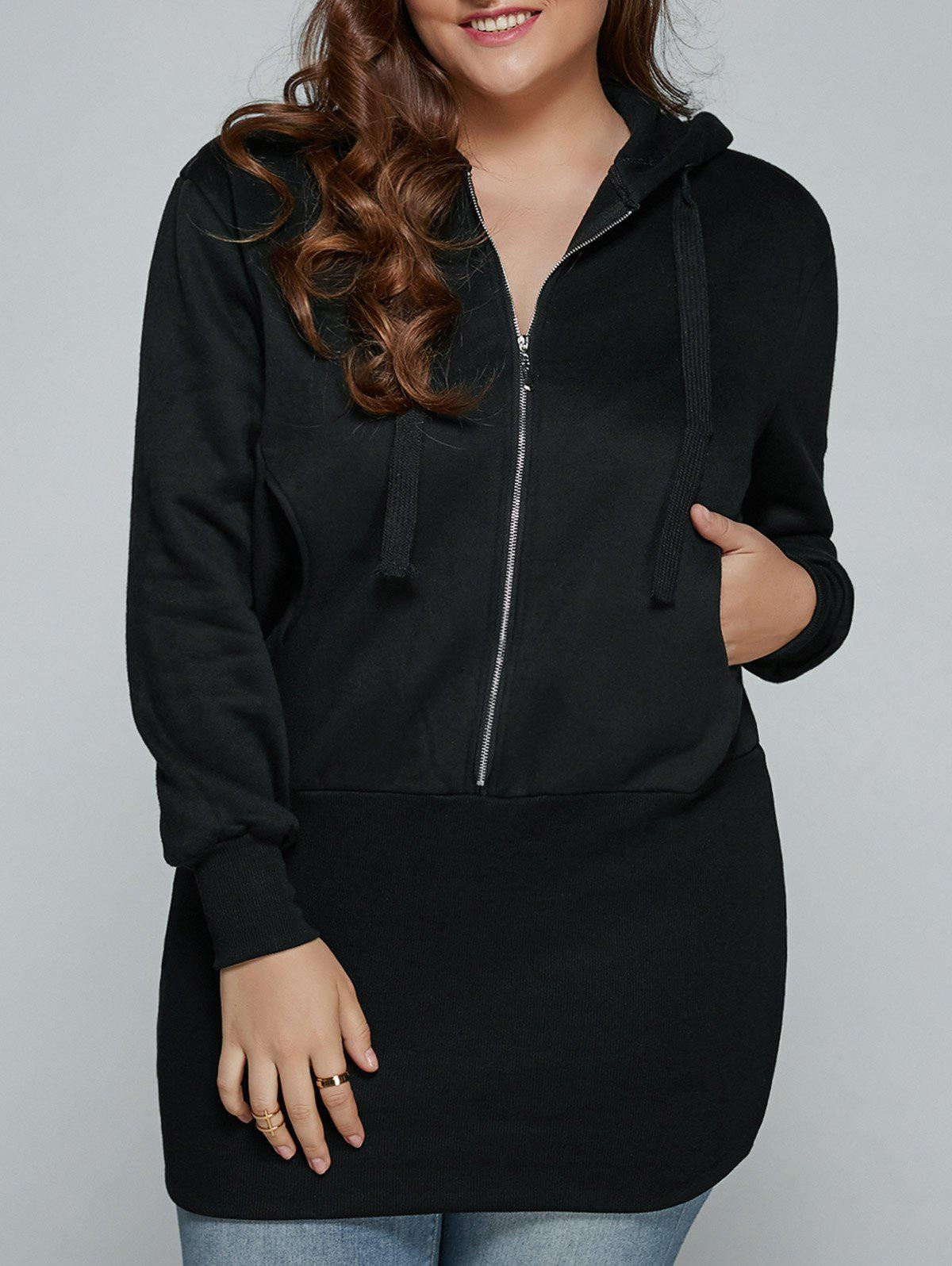 Plus Size Zip Up Dress Hooded - Noir 3XL