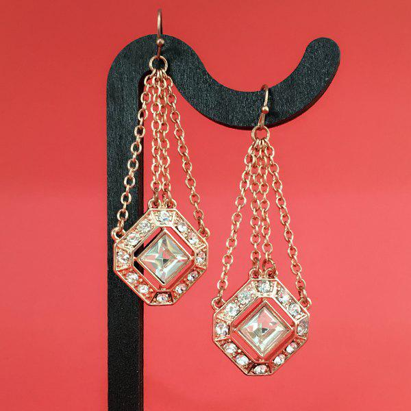 Retro Rhinestone Faux Gem Geomatric Earrings