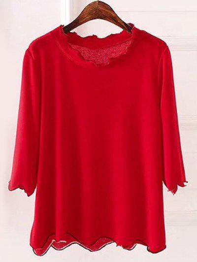 Plus Size 3/4 Sleeves Wave Cut KnitwearWomen<br><br><br>Size: 5XL<br>Color: RED
