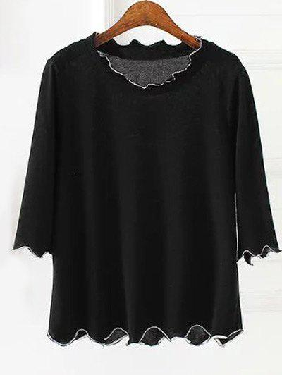 Plus Size 3/4 Sleeves Wave Cut Knitwear - BLACK 4XL