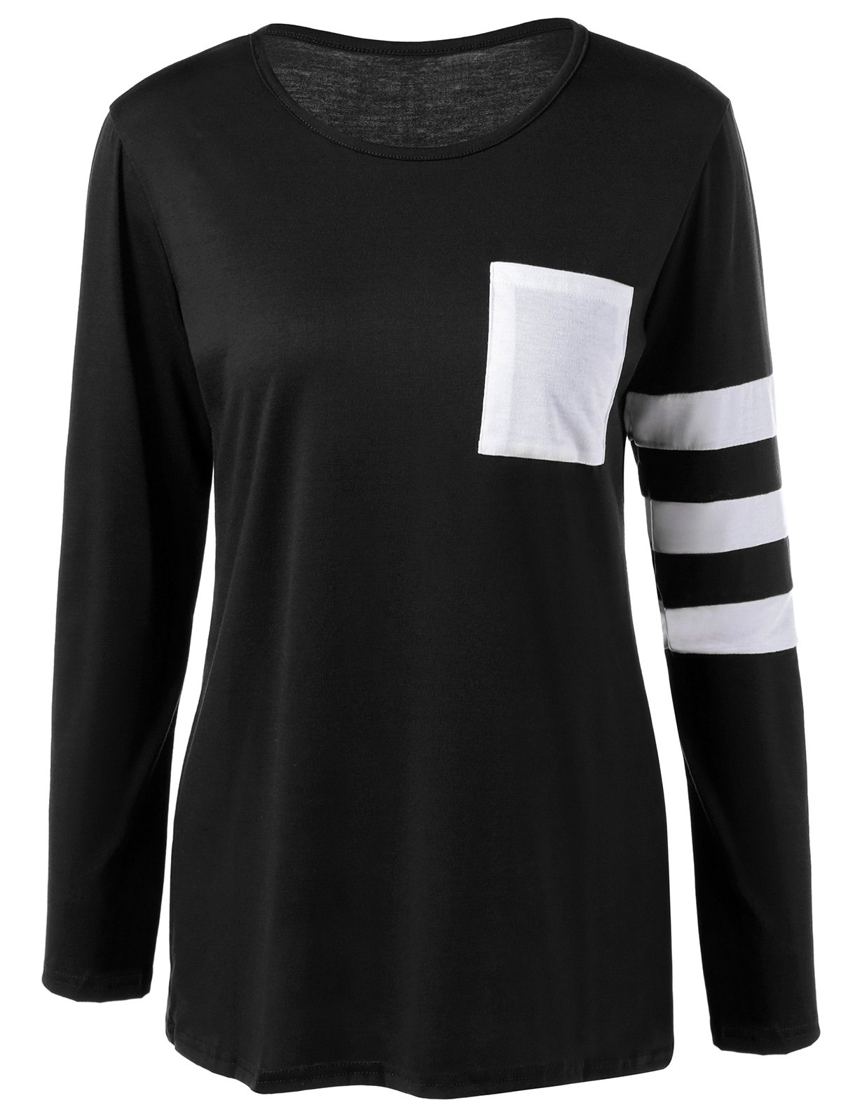Pocket Striped T Shirt - BLACK XL