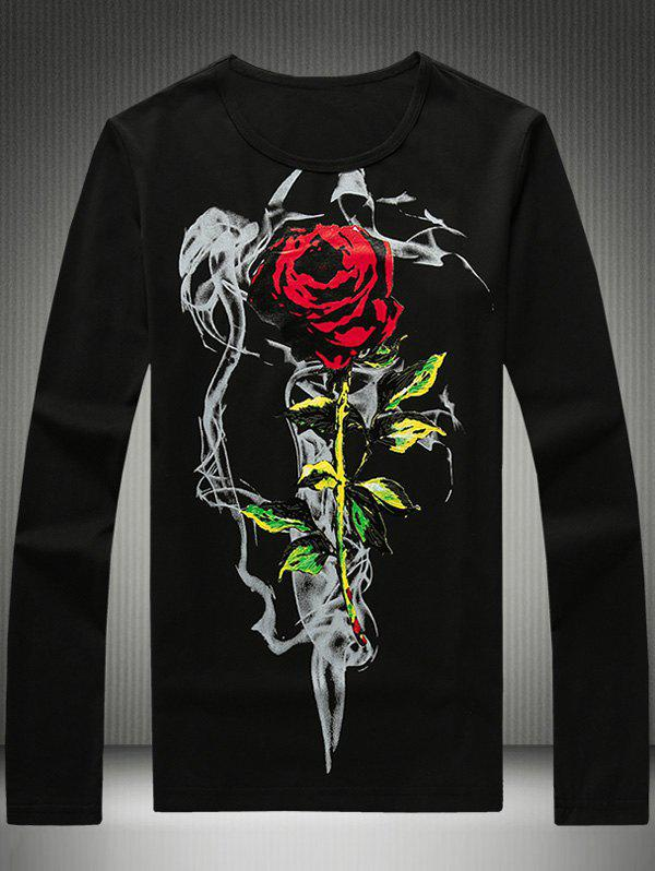 Round Neck Plus Size Long Sleeve 3D Rose Print T-Shirt plus size bird and floral print v neck long sleeve t shirt