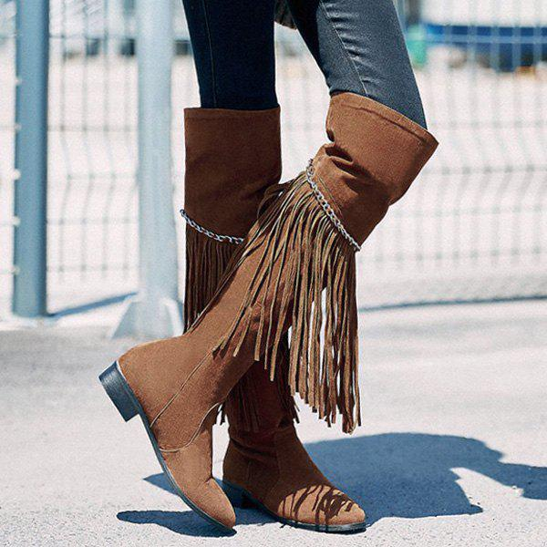 Fashionable Fringe and Chains Design Women's Thigh High Boots