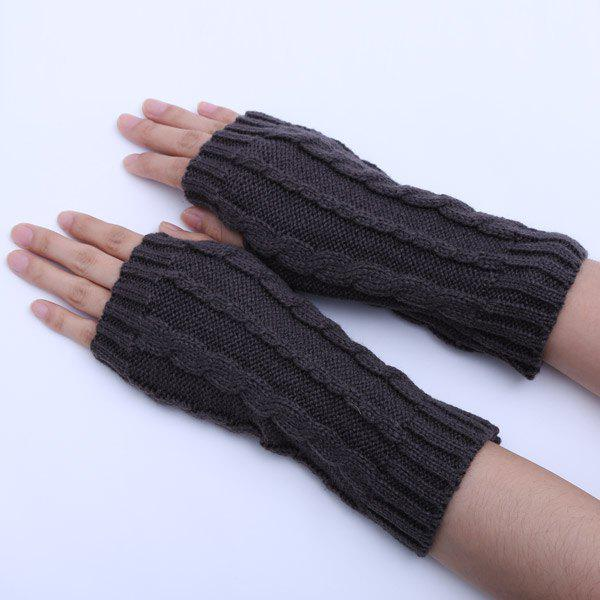 Pair of Hemp Flowers Crochet Knitted Fingerless Gloves - DEEP GRAY