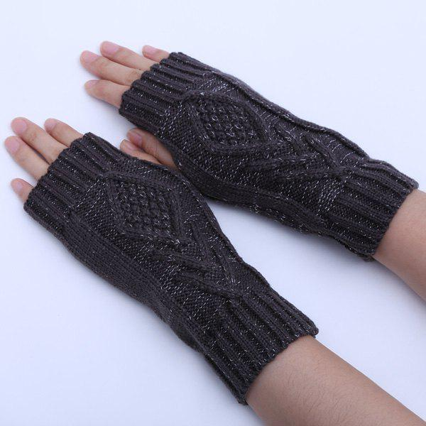 knitting Rhombus Line Embellished Fingerless  Gloves - DEEP GRAY