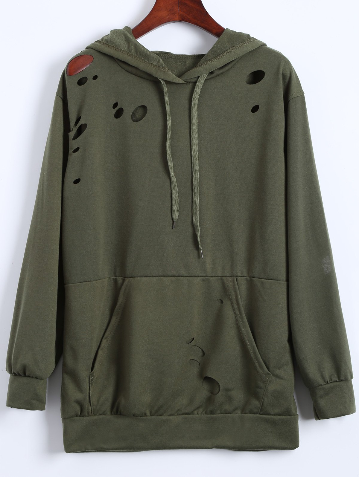 Broken Hole Hoodie - ARMY GREEN XL