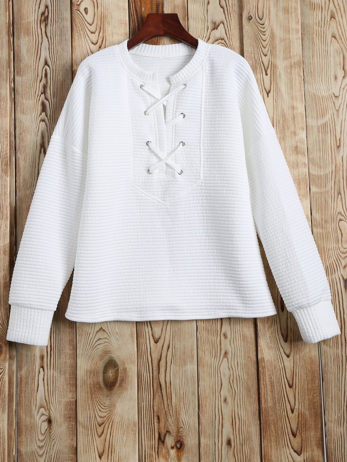 Lace Up Sweatshirt - WHITE S