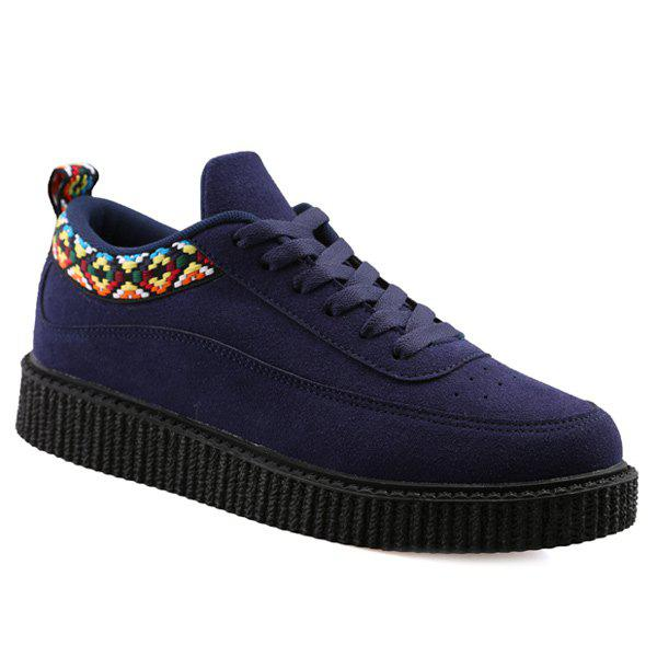 Suede Lace Up Geometric Pattern Casual Shoes - DEEP BLUE 40