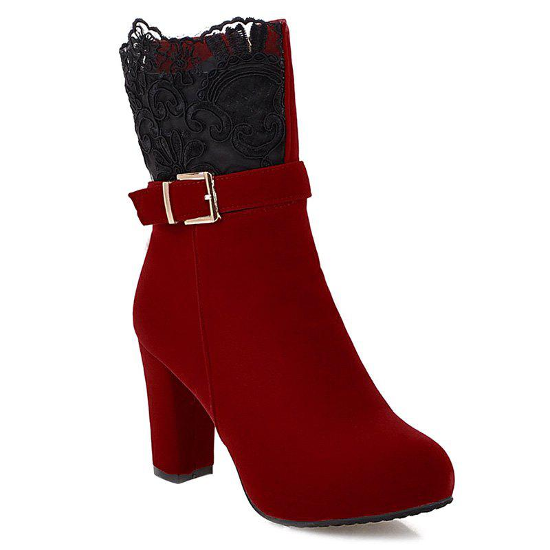Zipper Embroidery Chunky Heel Short Boots - RED 38