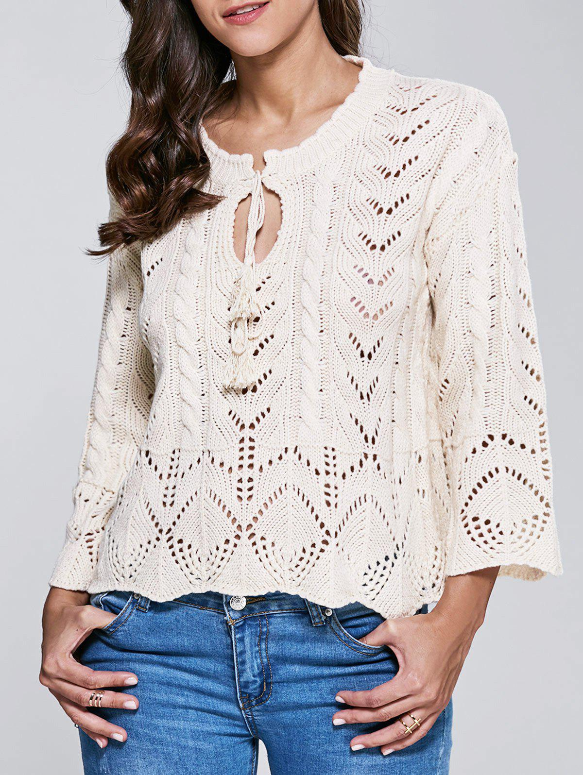 Stand Neck Long Sleeve Hollow Out Sweater - WHITE ONE SIZE