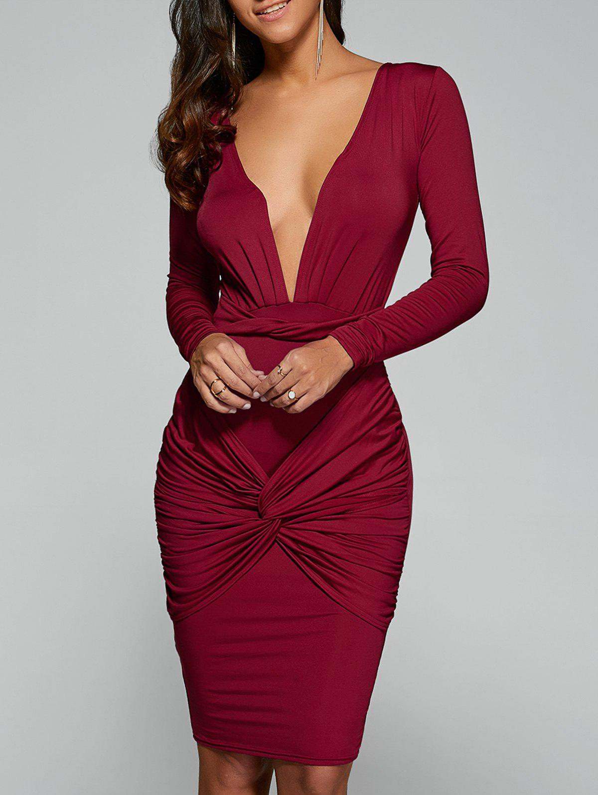 Twist Front Long Sleeve Bodycon Dress - RED S