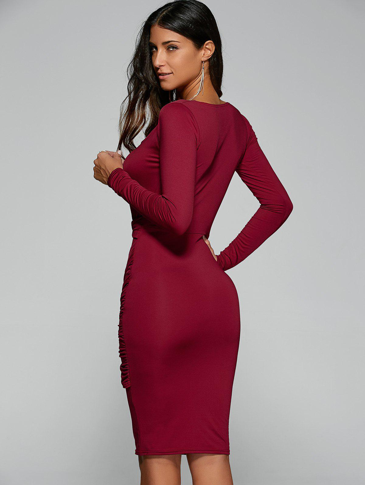 Twist Front Long Sleeve Bodycon Formal Midi Dress - RED S