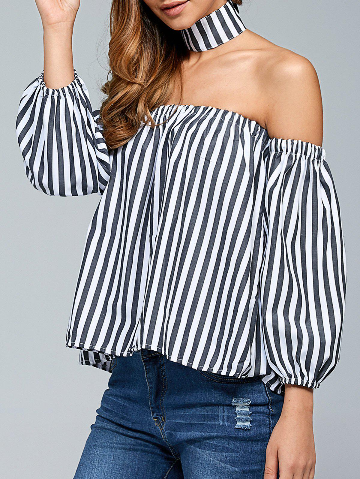 Off The Shoulder Top With Choker - WHITE/BLACK S