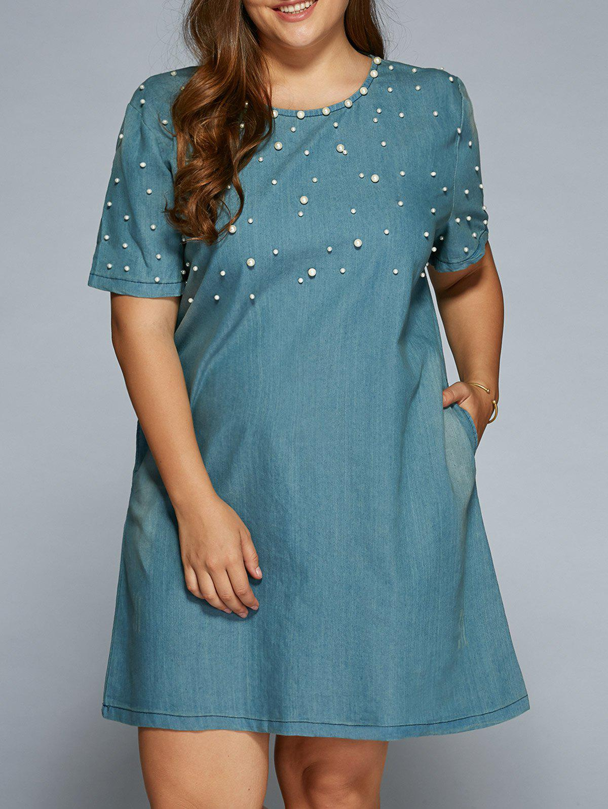 Dresslily USA A Line Beading Denim Dress