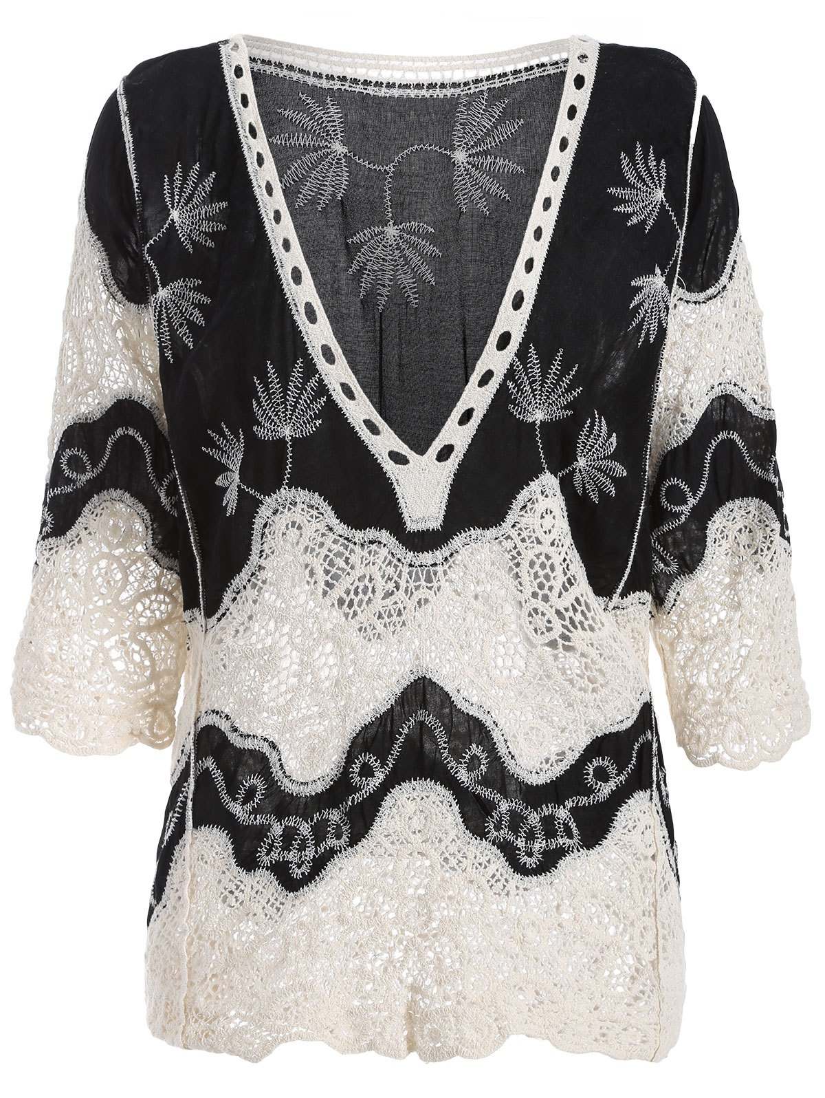 Guipure Bell Sleeves Crochet Blouse - BLACK 2XL