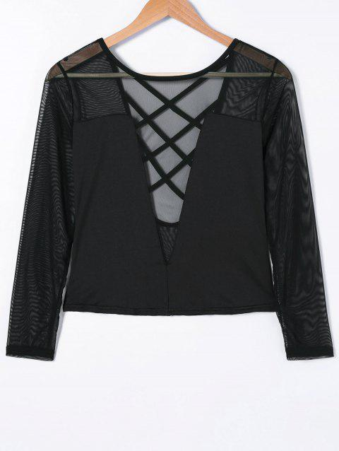 Crossback See Through T Shirt - BLACK ONE SIZE