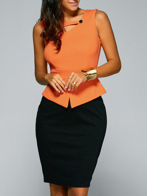 Sleeveless Peplum Work Dress - SWEET ORANGE S