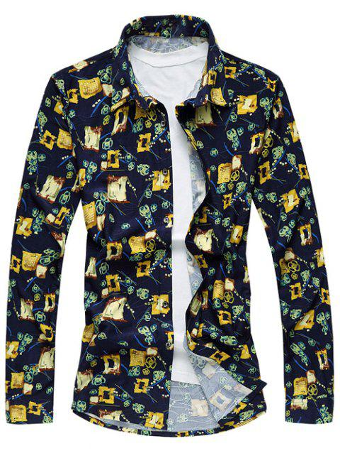 Abstract Floral Print Long Sleeve Plus Size Shirt - COLORMIX M