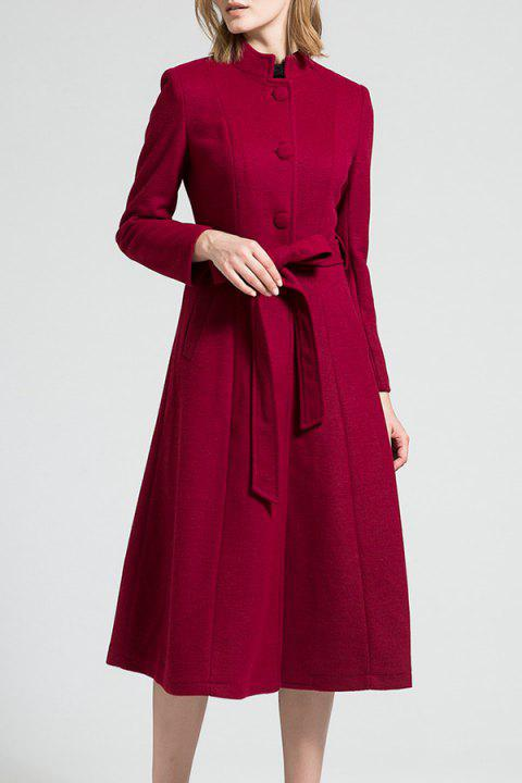 Skirted Wool Blend Coat with Belt - WINE RED S