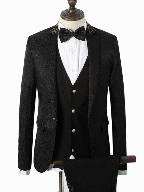 Lapel Vintage Floral Pattern Splicing Single Breasted Three-Piece Suit - BLACK M