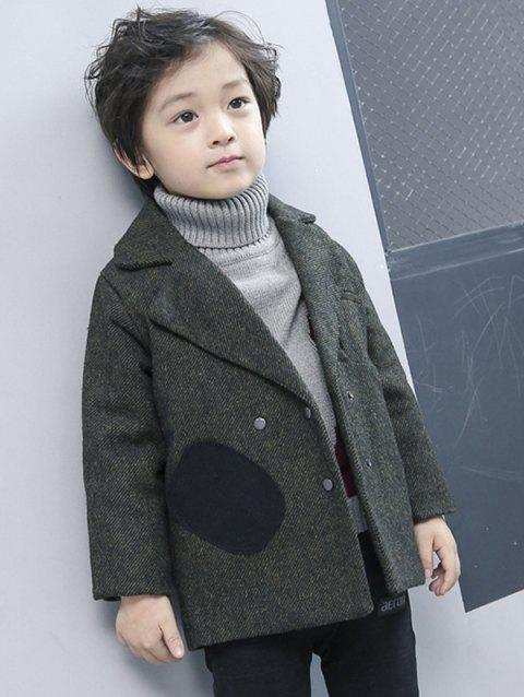 Boys Double-Breasted Wool Coat - BLACKISH GREEN 100