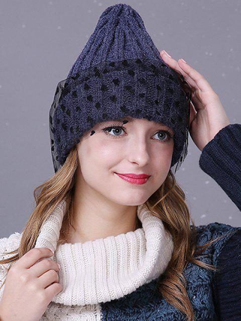d8c618cbec8 2019 Warm Heart Lace Flanging Knit Faux Wool Ski Hat In CADETBLUE ...