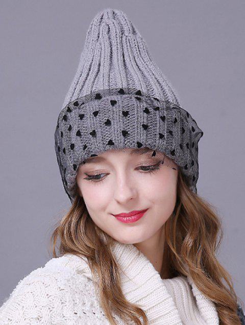 e136ad93f9d 41% OFF  2019 Warm Heart Lace Flanging Knit Faux Wool Ski Hat In ...