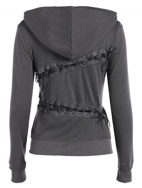 Trendy Hooded Long Sleeve Solid Color Lace-Up Women's Hoodie - GRAY S