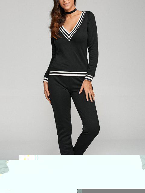 V Neck Sweatshirt et Sweatpants - Noir S