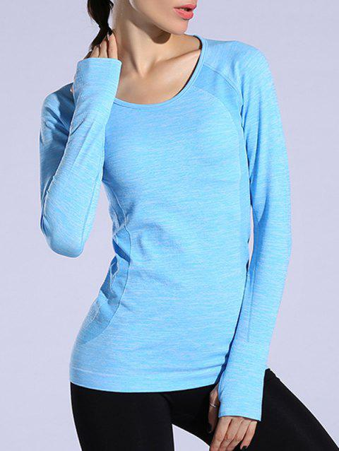 24346372fd60e1 41% OFF  2019 Heathered Dry-Quick Long Sleeve Gym Top In AZURE L ...