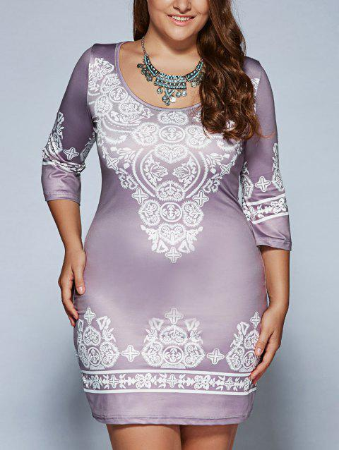 Bohemian Bodycon Mini Dress - LIGHT PURPLE XL