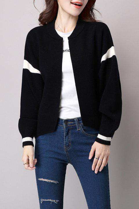 Knitted Open Front Bomber Jacket - BLACK ONE SIZE