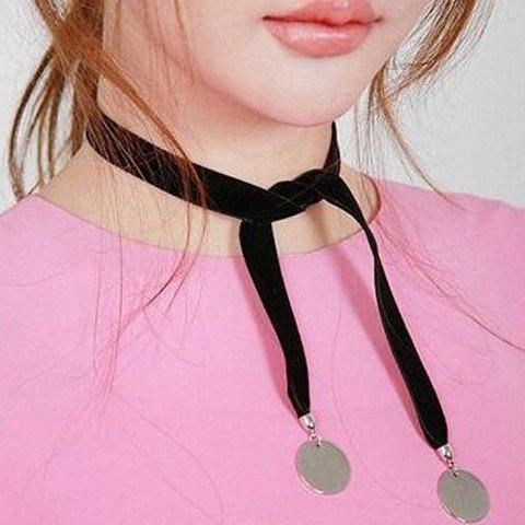 Disc Velour Knotted Choker Necklace - SILVER WHITE