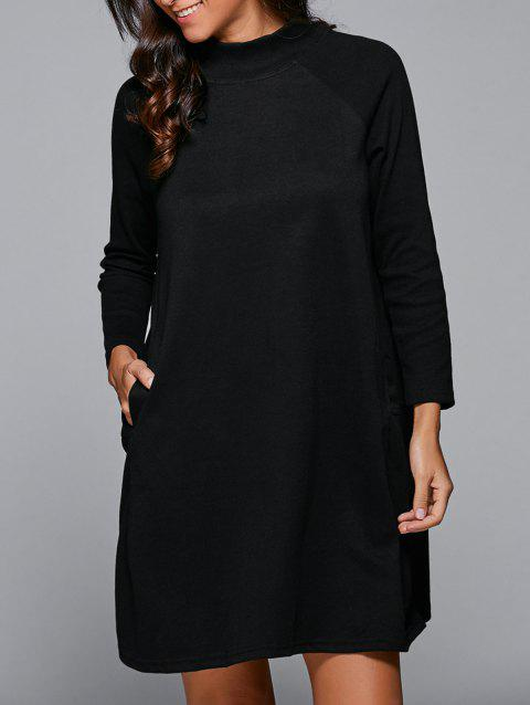Raglan Sleeves Pocket Design Dress - BLACK M
