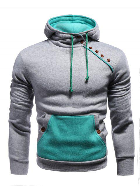 Hooded Oblique Buttons Embellished Color Block Splicing Hoodie - GRAY S