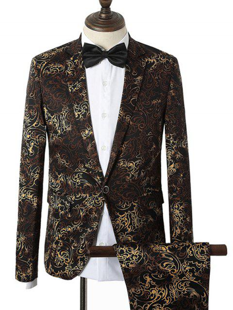 Lapel Vintage Ombre Floral Pattern Single Breasted Twinset Suit - COFFEE L