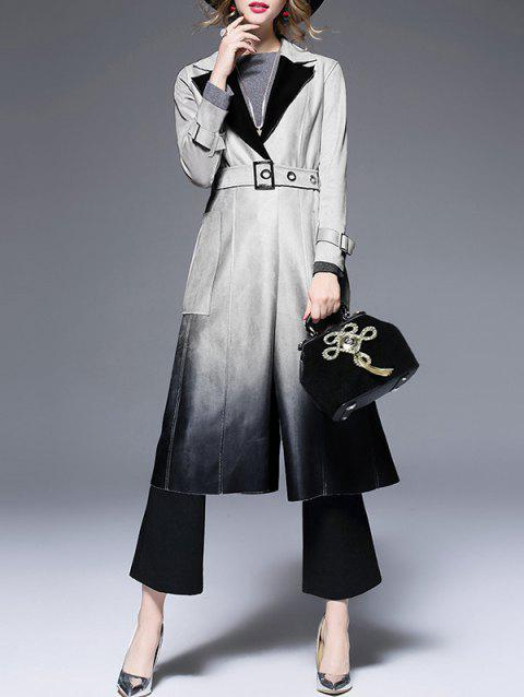 Lapel Suede Ombre Belted Coat - GRAY S