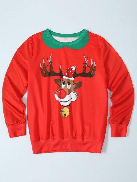 Fawn Print Christmas Pullover Sweatshirt - RED L