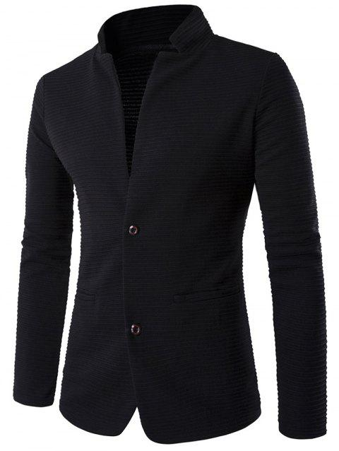 Stand Collar Rib Single-Breasted Elbow Patch Blazer - BLACK M
