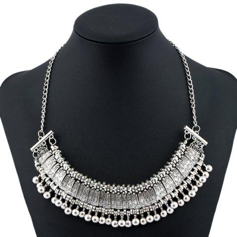Engraved Alloy Geometric Beaded Necklace - SILVER