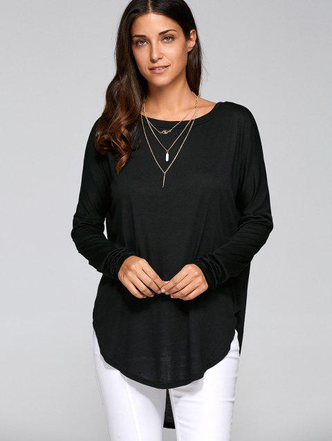 Drop Shoulder High Low Tunic T-Shirt - BLACK XL