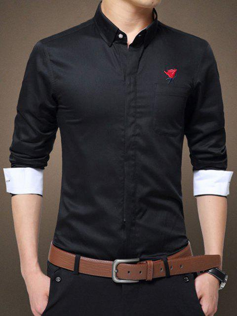 Covered Zip-Up Design Turn-Down Collar Rose Embroidered Long Sleeve Shirt - BLACK M