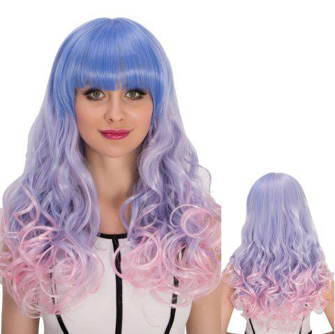 Cosplay synthétique Multi Color long complet Bang Shaggy Wavy perruque - multicolore